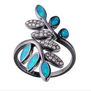 Blue Fire Opal Fashion Leaf Charm Ring Size: 9